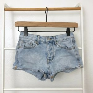 Brandy Melville Button Fly High Rise Denim Shorts
